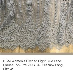H&M Tops - H&M Divided Light Blue Lace Top Ruffle Size 2 US